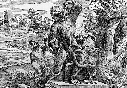 Caricature of the Laocoon group as apes
