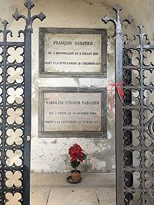 Das Grab von Caroline Unger und François Sabatier in Florenz, Friedhof der Kirche San Miniato al Monte (Quelle: Wikimedia)