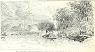 Battle of Fort Donelson - The Carondelet attacks Fort Donelson
