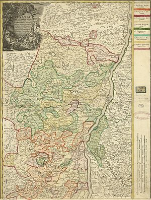 Lower Alsace - 16th-century map of Lower Alsace by Daniel Specklin.