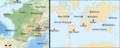 Carte des villes françaises et internationales dont la météo est comparée.png