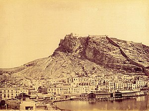 Santa Bárbara Castle - Castle of Santa Bárbara in the 19th century. Photo by Jean Lauren (1816-1886).