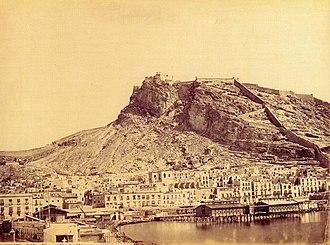 Santa Bárbara Castle - Castle of Santa Bárbara in the 19th century. Photo by Jean Lauren (1816-1886).