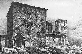 Iglesia de Santa María del Temple (Ceinos de Campos) - Iglesia de Santa María del Temple. Drawing by Francesc Parcerisa in 1860.
