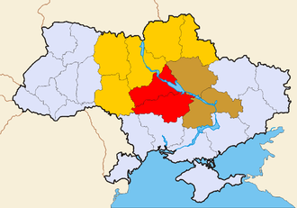 "Several Oblasts can be referred to as ""Central Ukraine"":  .mw-parser-output .legend{page-break-inside:avoid;break-inside:avoid-column}.mw-parser-output .legend-color{display:inline-block;min-width:1.25em;height:1.25em;line-height:1.25;margin:1px 0;text-align:center;border:1px solid black;background-color:transparent;color:black}.mw-parser-output .legend-text{} Red - always included Brown - often included Orange - sometimes included Central Ukr.png"