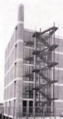 Centro del Mobile of Italy, by designer Gualtiero Galmanini, emergency Staircase and chimney, 1958.png