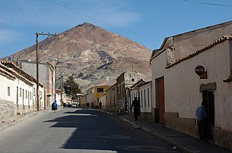 History of Bolivia - The Cerro Rico, from which the Spanish drew most of their silver