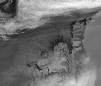 Marion Nunataks - Thermal infra-red satellite image of Charcot Island
