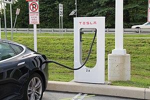 Tesla Supercharger - Tesla Model S charging at the Supercharger network station in Newark, Delaware.