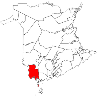 Saint Croix (electoral district) - The riding of Saint Croix (as it exists from 2016) in relation to other New Brunswick electoral districts.