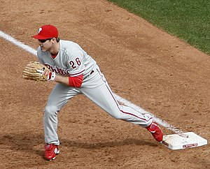 Chase Utley - Chase Utley covers first base, 2009