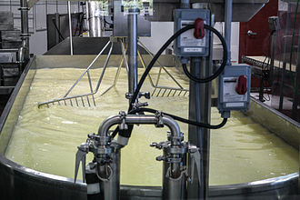 Creamery - Cheese vat where milk is stirred after cultures and rennet are added to make cheese