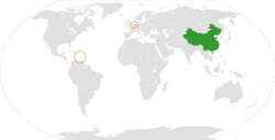 Map indicating locations of China and Netherlands