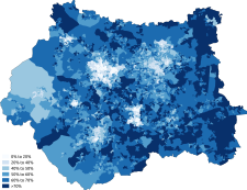 Christianity West Yorkshire 2011 census.png