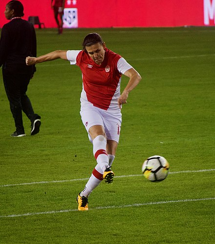 Canada captain Sinclair warms up before a match, November 2017 Christine Sinclair warming up.jpg