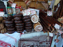 Christmas market 2015 Erzsébet Square. Meat products. - Budapest.JPG