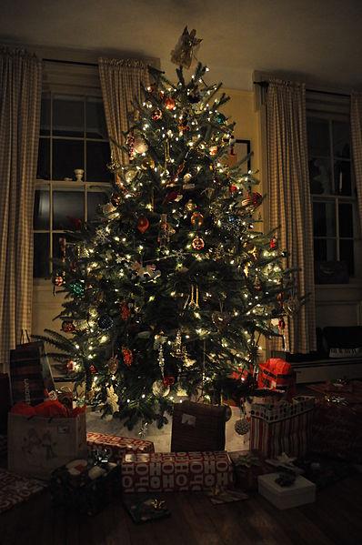 File:Christmas tree with presents.JPG