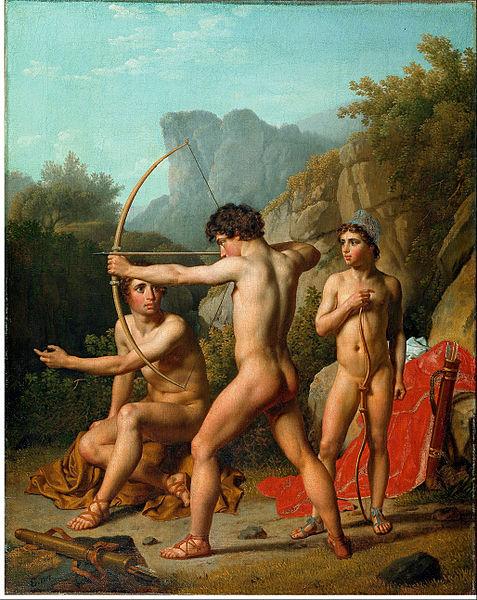 Tres arqueros de Esparta, una polis griega de la Edad Antigua