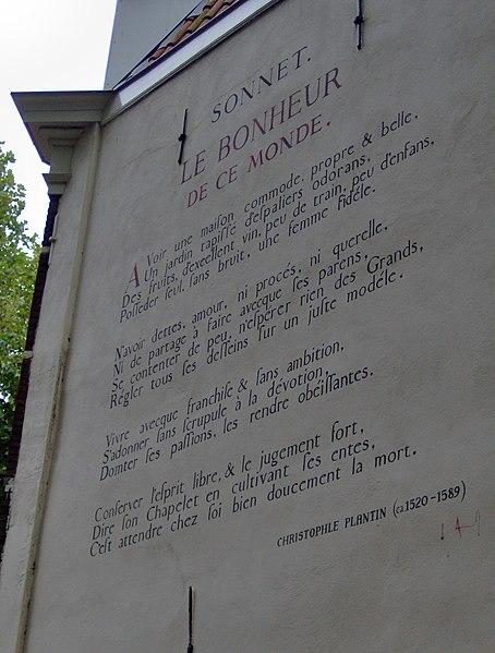 File:Christophle Plantin - Le Bonheur De Ce Monde - Hooigracht 106A, Leiden.JPG