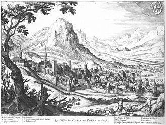 Chur - Chur in 1642, by Matthäus Merian.