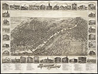 Saginaw City, Michigan - Cities of East Saginaw and Saginaw, Michigan, 1885 before they were consolidated into Saginaw in March, 1890.