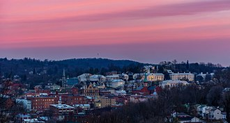 Staunton, Virginia - Overlook of downtown Staunton during sunrise