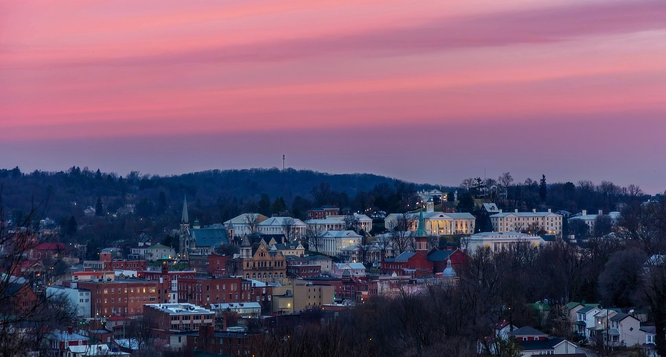 Overlook of downtown Staunton during sunrise