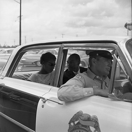 Activists Patricia Stephens and Reverend Petty D. McKinney arrested in Tallahassee, Florida on June 16, 1961 Civil rights activists arrested - Tallahassee (14516862961).jpg