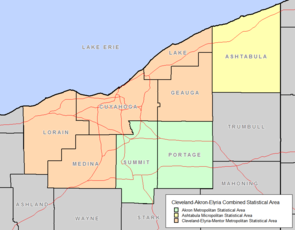 Map highlighting the five-county Cleveland–Elyria MSA, as defined by the U.S. Census Bureau.