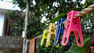 Clothespin - Clothespins on a clothes line
