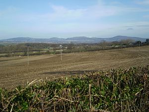Clwydian Range - Clwydian Range from Abergele showing from left to right-Prestatyn Hillside, Gop Hill, Moel Hiraddug and Mynydd y Cwm