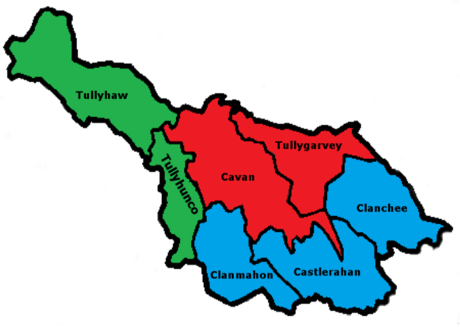 Territorial Changes Red: Land held by John O'Reilly Blue: Land granted to other O'Reillys Green: Land granted to other clans Co Cavan 1584.png