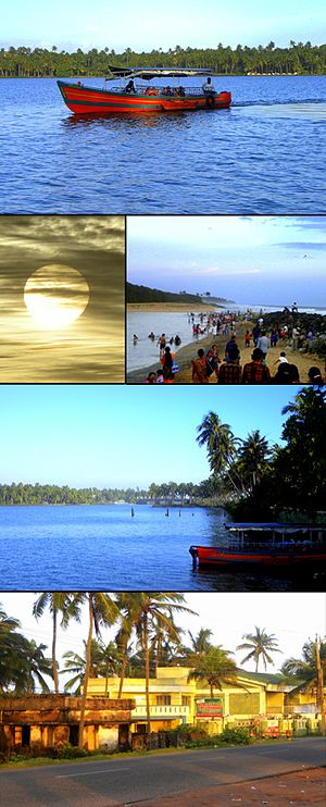 Thekkumbhagam - From Top:Boating at Paravur Lake, Sunset at Thekkumbhagam beach, Thekkumbhagam Estuary, Paravur Lake at Thekkumbhagam, Lakesagar Xavier's resort in Thekkumbhagam