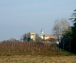 View with campanile and Lucheschi Castle