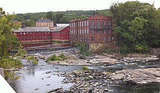 Collinsville, Connecticut - Some of the Collins Company factory buildings in Collinsville on the Farmington River, viewed from Connecticut Route 179
