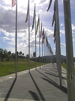 Commonwealth Place, Canberra - Flag poles at Commonwealth Place, Canberra.