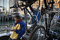 Commuter with bike in the Great Barrier Island Car ferry, Auckland - 0336.jpg