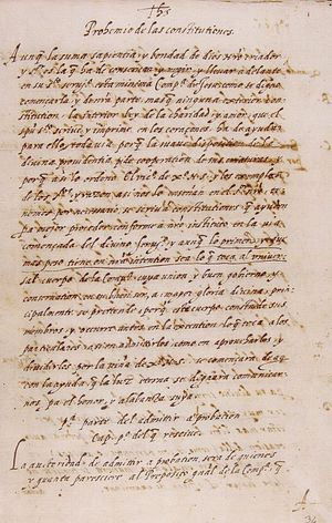 Jesuit formation - The original handwritten preamble of the Constitutions of the Society of Jesus, by Ignatius of Loyola, laying out Jesuit formation