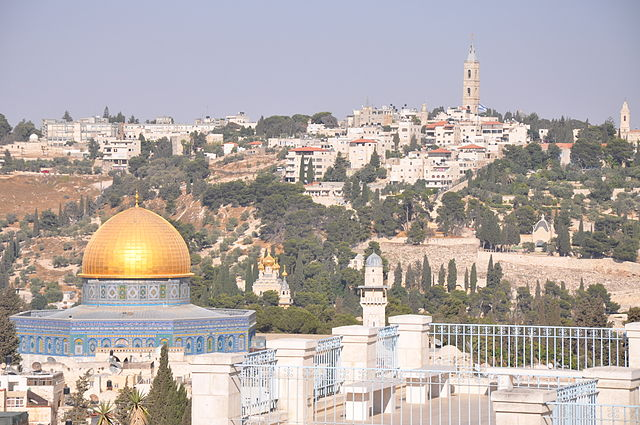"""Contrasting golden dome of The Temple of the Rock and its surroundings (10804618415)"" by Jorge Láscar from Australia - Contrasting golden dome of The Temple of the Rock and its surroundings. Licensed under Creative Commons Attribution 2.0 via Wikimedia Commons - https://commons.wikimedia.org/wiki/File:Contrasting_golden_dome_of_The_Temple_of_the_Rock_and_its_surroundings_(10804618415).jpg#mediaviewer/File:Contrasting_golden_dome_of_The_Temple_of_the_Rock_and_its_surroundings_(10804618415).jpg"
