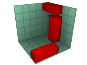 Conway puzzle - A possible placement for the three 1×1×3 blocks. The vertical block has corners touching corners of the two horizontal blocks.