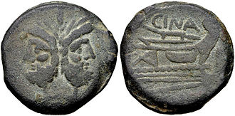Cornelia (gens) - As of Lucius Cornelius Cinna (here spelt Cina), minted between 169 and 158 BC.  The obverse depicts the head of Janus, while the reverse shows a prow.