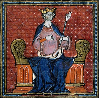 Hugh Capet - The Coronation of Hugues Capet. Miniature from a manuscript of the 13th or 14th century.