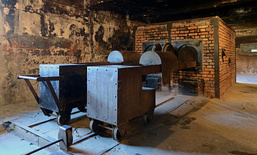 A reconstruction of crematorium I, Auschwitz I, 2014 Crematorium at Auschwitz I 2012.jpg