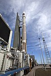 Cygnus CRS OA-6 Atlas V rocket rollout (25942352816).jpg
