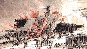 1842 sketch of the derailment and fire