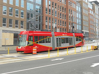 DC Streetcar - A United Streetcar-built streetcar to be used on the DC Streetcar system being tested along HStreet NE in December 2014.