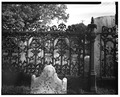 DETAIL VIEW OF CAST-IRON FENCE - Cold Spring Presbyterian Church, West side Seashore Road, Cold Spring, Cape May County, NJ HABS NJ,5-COLSP,1-7.tif