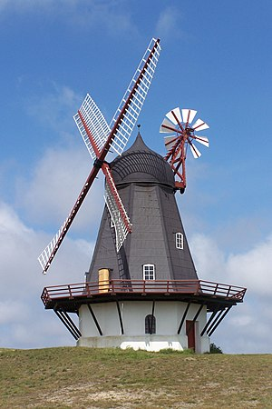 Windmill fantail - Danish Smock mill from 1895 at Sønderho, Fanø, with fantail