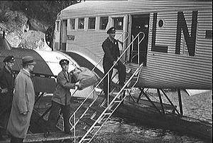 Norwegian Air Lines - Boarding of a Junkers Ju-52 at Gressholmen Airport in 1936