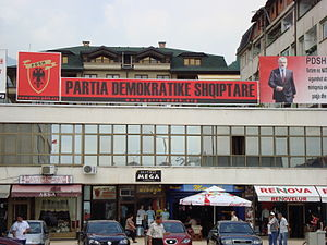 Democratic Party of Albanians - DPA sign in Tetovo